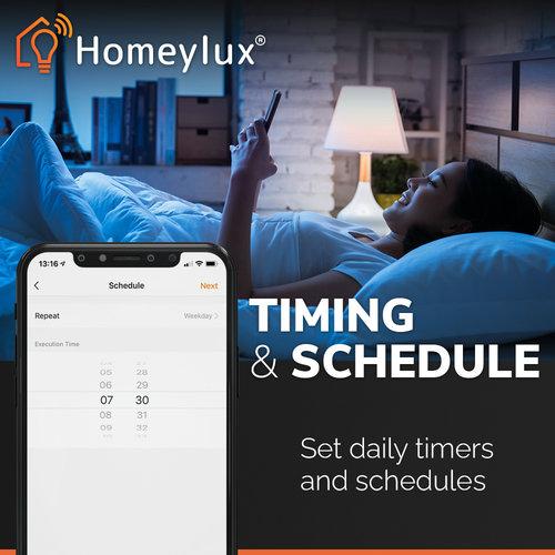 Homeylux Set van 6 stuks smart WiFi LED inbouwspots Luna RGBWW kantelbaar Zwart IP44 1050lm