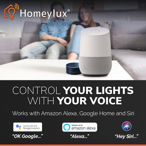 Homeylux Set van 6 stuks smart WiFi LED inbouwspots Luna RGBWW kantelbaar RVS IP44 1050lm