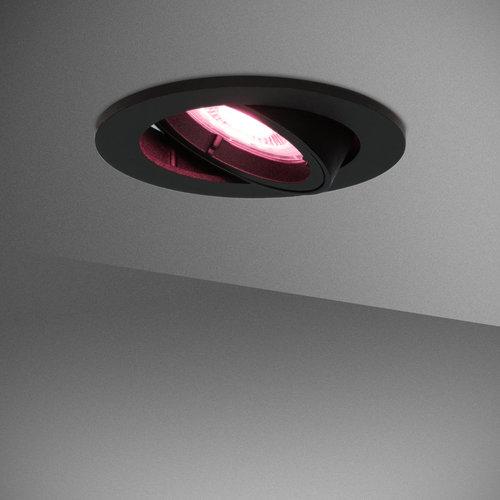 Homeylux Set of 3 smart WiFi LED recessed spotlight Oslo dimmable RGBWW tiltable black IP20