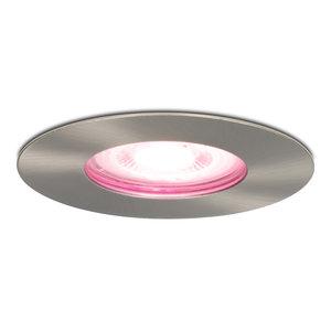 Homeylux Intelligenter WiFi Dimmbare RGBWW LED Einbaustrahler Bari Edelstahl GU10 5 Watt IP65 spritzwassergeschützt