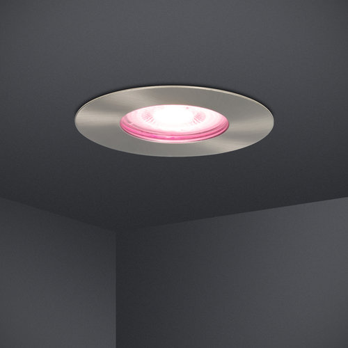 Homeylux Set van 3 stuks smart WiFi dimbare RGBWW LED inbouwspots Bari RVS IP65 spatwaterdicht
