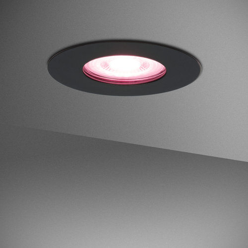 Homeylux Set van 3 stuks smart WiFi dimbare RGBWW LED inbouwspots Bari zwart IP65 spatwaterdicht
