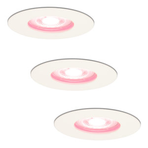 Homeylux Set of 3 smart WiFi dimmable RGBWW LED recessed spotlights Bari white 5 Watt IP65 splashproof