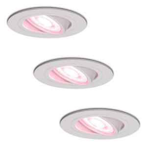 Homeylux Satz von 3 intelligenten WiFi LED-Einbaustrahler Pittsburg dimmbar RGBWW Schwenkbar Weiß IP20