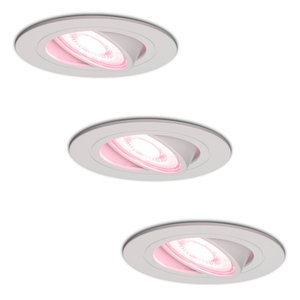 Homeylux Set of 3 smart WiFi LED recessed spotlight Pittsburg dimmable RGBWW tiltable white IP20