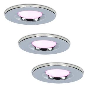 Homeylux Satz von 3 intelligenten WiFi dimmbaren RGBWW LED-Einbaustrahlern Chrom Venezia 6 Watt IP65