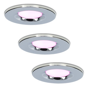 Homeylux Set van 3 stuks smart WiFi dimbare RGBWW LED inbouwspots chroom Venezia 6 Watt IP65