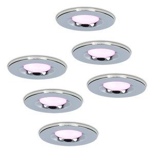 Homeylux Set van 6 stuks smart WiFi dimbare RGBWW LED inbouwspots chroom Venezia 6 Watt IP65