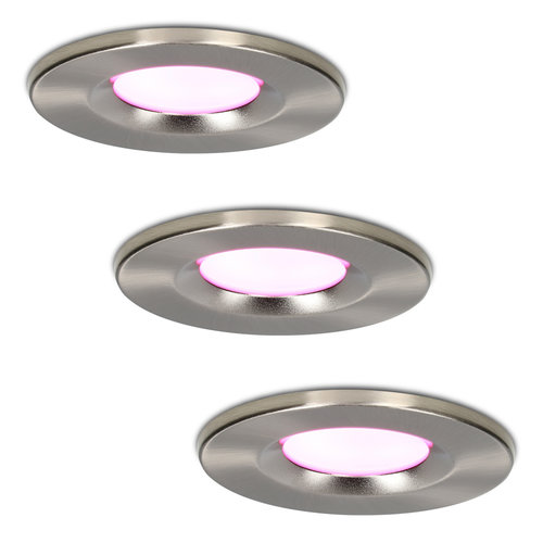Homeylux Set of 3 smart WiFi dimmable RGBWW LED recessed spotlights stainless steel Venezia 6 Watt IP65