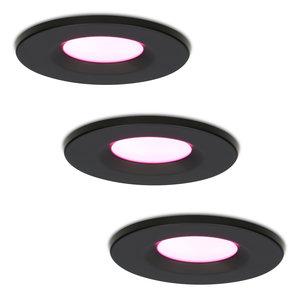 Homeylux Satz von 3 intelligenten WiFi dimmbaren RGBWW LED-Einbaustrahlern Schwarz Venezia 6 Watt IP65