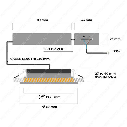Homeylux 3x Smart LED downlight Rome black 6 Watt RGBWW IP44 tiltable