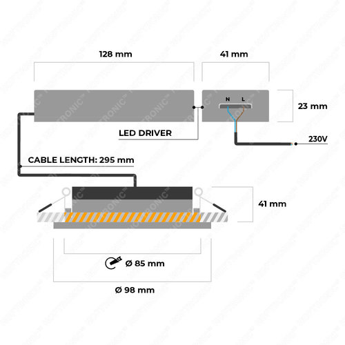 Homeylux 6x Smart LED downlight Napels black 8 Watt RGBWW IP65 tiltable