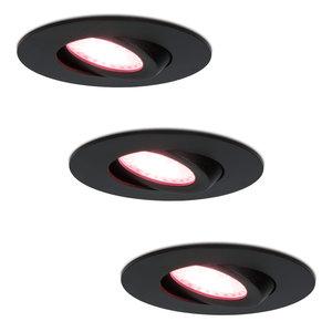 Homeylux 3x Smart LED inbouwspots Napels zwart 8 Watt RGBWW IP65 kantelbaar
