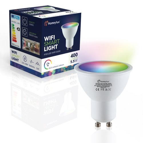Homeylux Set of 6 GU10 120° SMART LED Bulbs RGBWW Wifi+BLE 5.5 Watt 400lm Dimmable