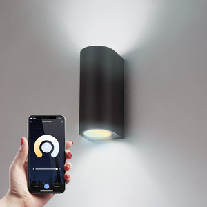 Homeylux Smart WiFi LED wall light Douglas black WW-CW GU10 IP44 double-sided illuminating