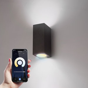 Homeylux Smart WiFi LED wall light Selma black WW-CW GU10 IP44 double-sided illuminating
