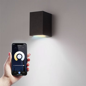 Homeylux Smart WiFi LED wall light Marion black WW-CW GU10 IP44