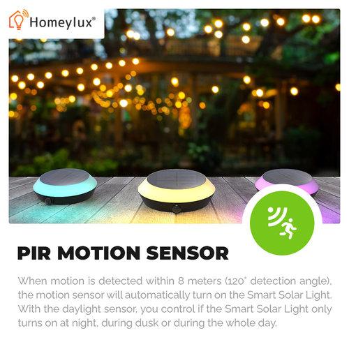 Homeylux LED Smart Solarleuchte 1.5 Watt RGBWW Bluetooth IP65 - Google Home, Amazon Alexa & Siri