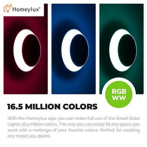 Homeylux 3x LED Smart Solarlamp 1.5 Watt RGBWW - Prikspot - Wandlamp - Hanglamp - BLE