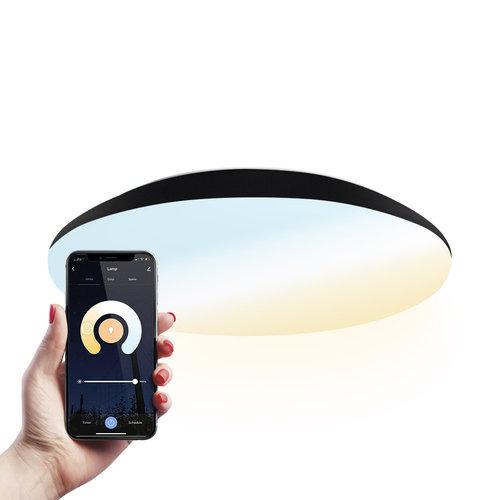Homeylux LED Ceiling lamp Smart WiFi + Bluetooth 18W CCT - 1900lm - IK10 - Ø30 cm - Black - IP65