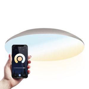 Homeylux LED Deckenleuchte Smart WiFi + BLE 25W einstellbare Lichtfarbe - 2600lm - IK10 - Ø38 cm - Chrom - IP65