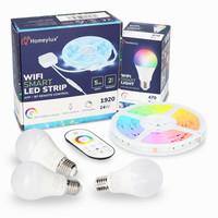 RGBWW Smart starterspakket 3 stuks 7 Watt E27 lampen + 1x Smart LED Strip 5m
