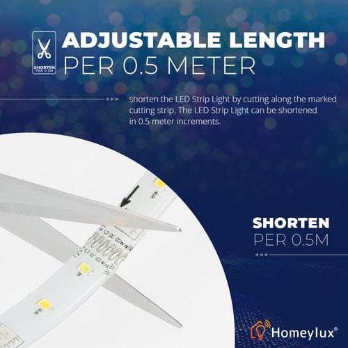 Homeylux RGBWW Smart starterspakket  inclusief 3 stuks Smart 7 Watt E27 lampen en 1 stuk 5 meter Smart LED Strip met afstandsbediening en App