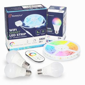 Homeylux Homeylux RGBWW Smart Starterset 3 Stück 10 Watt E27 Birnen + 1x Smart LED-Streifen 5m