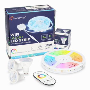 Homeylux RGBWW Smart starterspakket 3 stuks Smart GU10 LED spots + 1x Smart LED Strip 5m