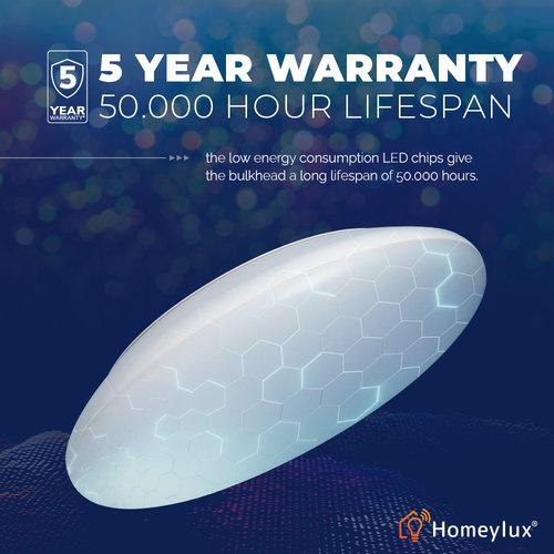 Homeylux LED Deckenleuchte WiFi + Bluetooth 18W einstellbare Lichtfarbe - 1900lm - IK10 - Ø30 cm - Edelstahl - IP65