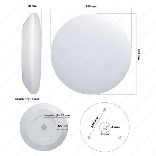 HOFTRONIC LED Smart Ceiling lamp WiFi + Bluetooth 18W CCT - 1900lm - IK10 - Ø30 cm - White - IP65