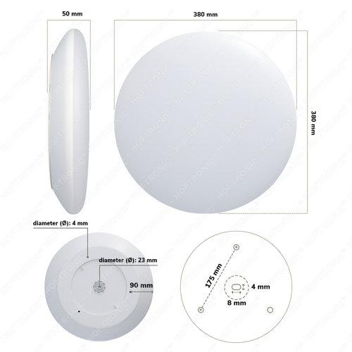 HOFTRONIC LED Smart Deckenleuchte WiFi + Bluetooth 25W einstellbare Lichtfarbe - 2600lm - IK10 - Ø38 cm - Weiß - IP65