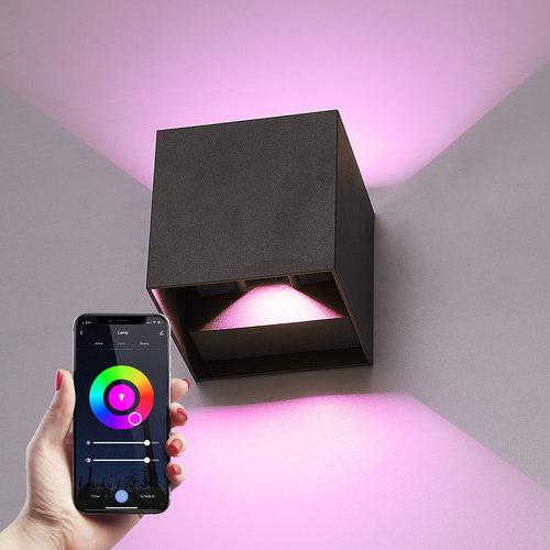 Homeylux Smart WiFi+BLE  LED Wandlamp Kansas zwart 6 Watt RGBWW tweezijdig oplichtend IP65