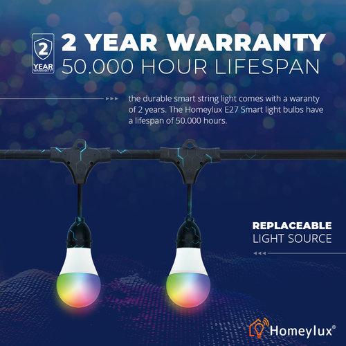 Homeylux Slimme LED prikkabel 15m - Smart String Light - 15 E27 smart lampen - IP65 Lichtsnoer buiten