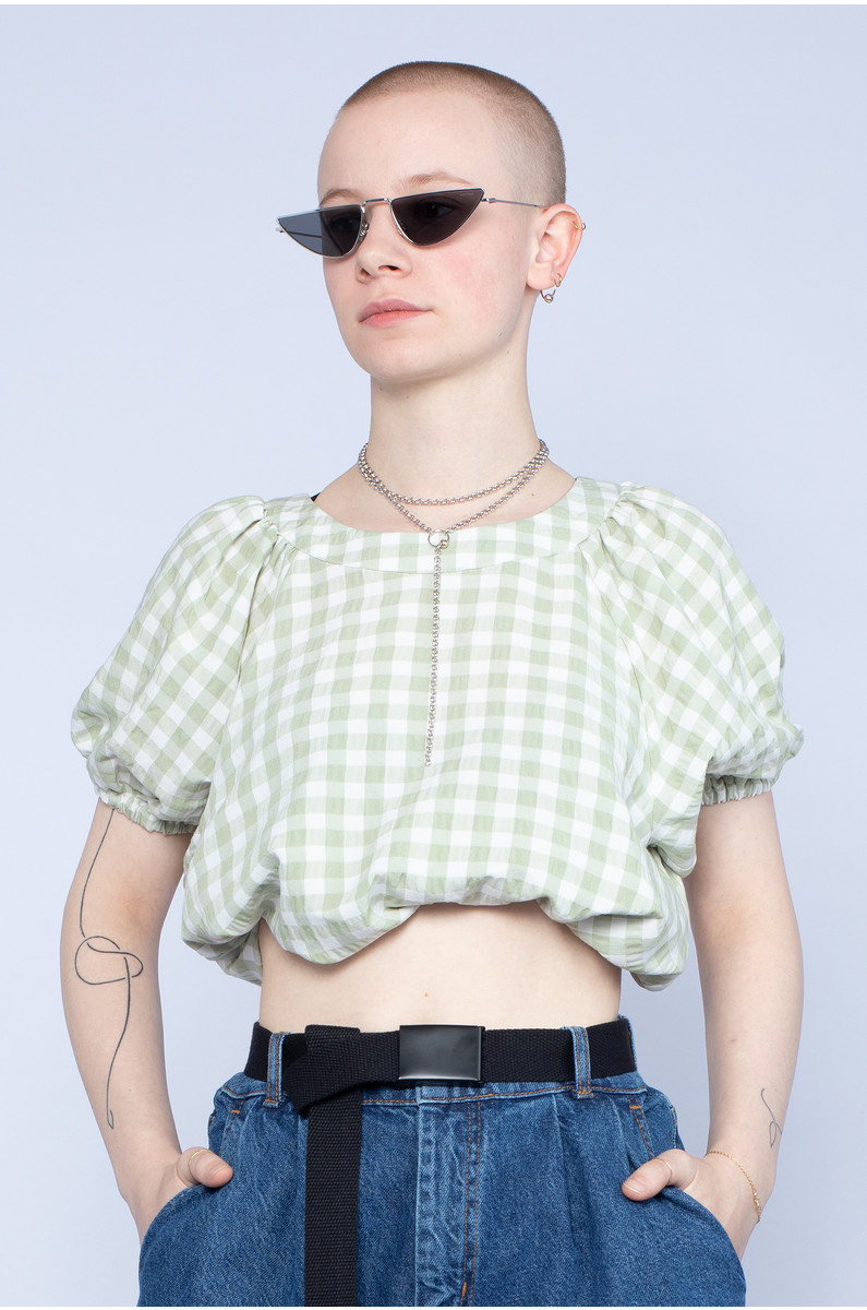 Native Youth Gingham Slouchy Top