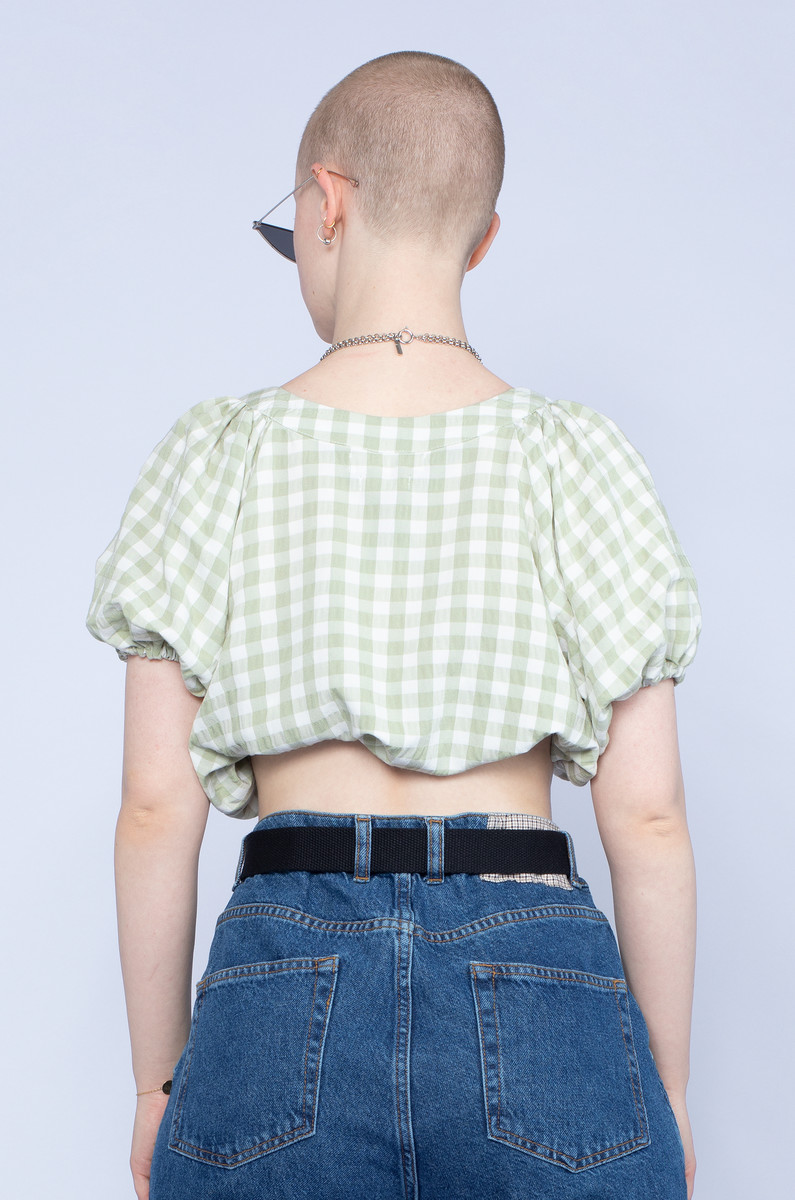 Native Youth Native Youth Gingham Slouchy Top