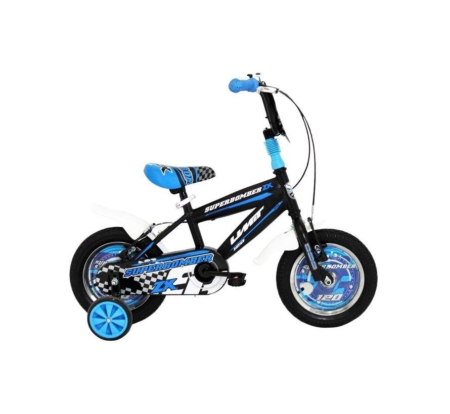 Umit Superbomber 12 inch Zwart-Blauw jongensfiets