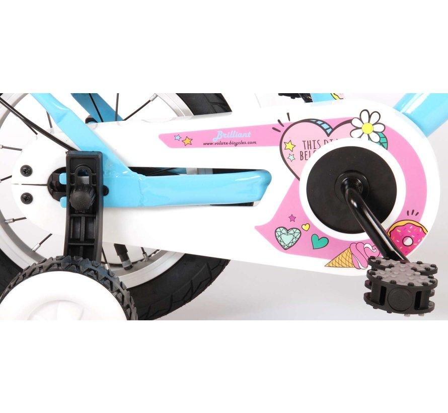Volare Brilliant Kinderfiets - Meisjes - 12 inch - Blauw - 95% afgemonteerd