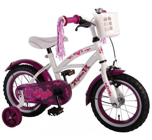 Volare Volare Heart Cruiser Kinderfiets - Meisjes - 12 inch - Wit Paars