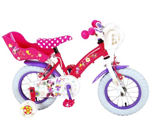 Disney Minnie Disney Minnie Bow-Tique Kinderfiets - Meisjes - 12 inch - Roze Wit - 2 Handremmen