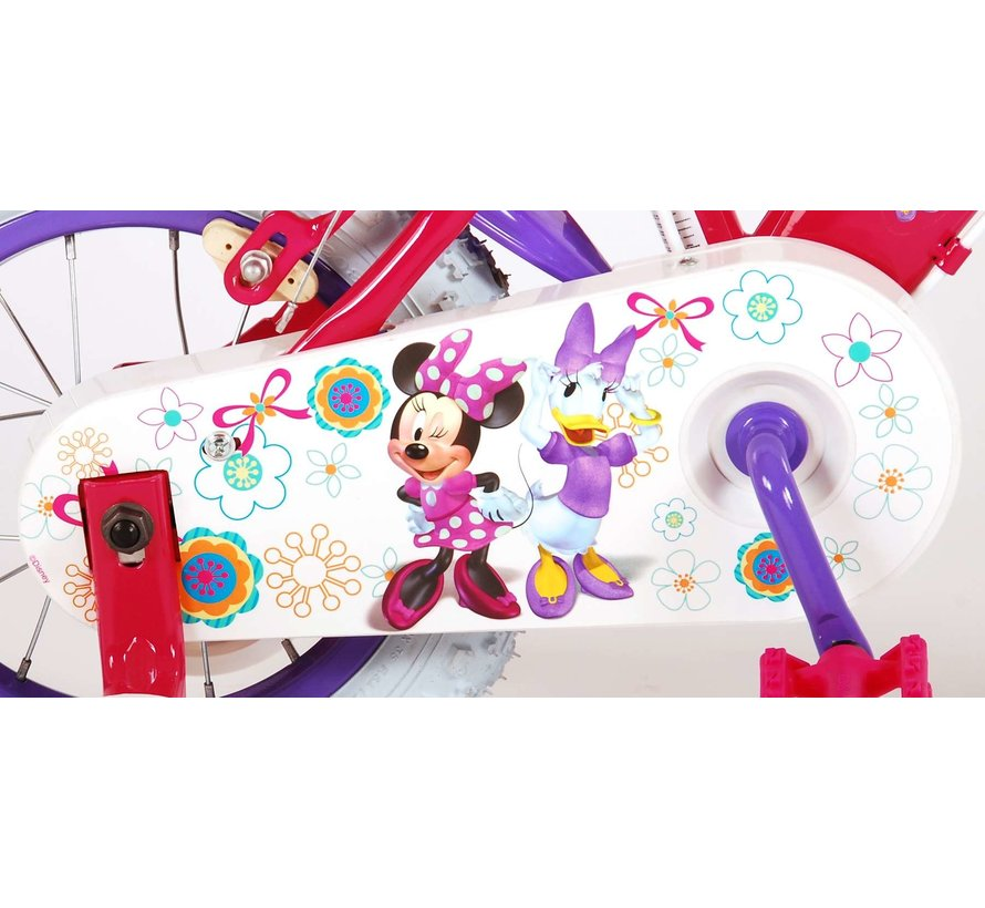 Disney Minnie Bow-Tique Kinderfiets - Meisjes - 12 inch - Roze Wit - 2 Handremmen