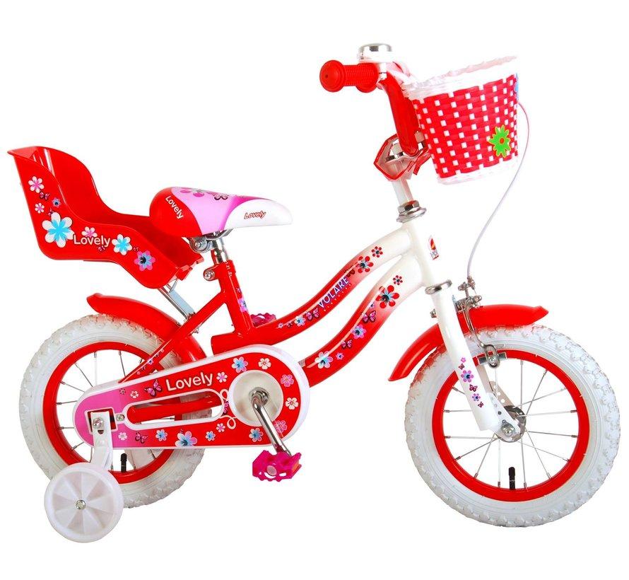 Volare Lovely Kinderfiets - Meisjes - 12 inch - Rood Wit - 95% afgemonteerd