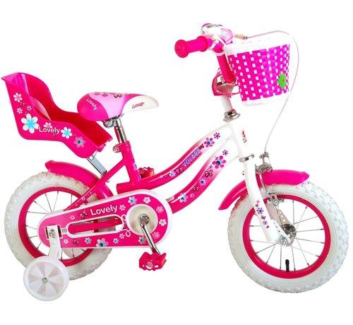 Volare Volare Lovely Kinderfiets - Meisjes - 12 inch - Roze Wit - 95% afgemonteerd