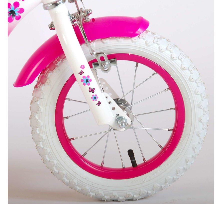 Volare Lovely Kinderfiets - Meisjes - 12 inch - Roze Wit - 95% afgemonteerd