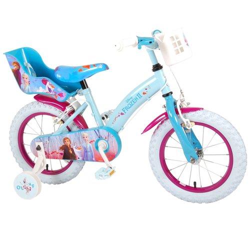 Disney Frozen 2 Disney Frozen 2 Kinderfiets - Meisjes - 14 inch - Blauw/Paars - 2 Handremmen