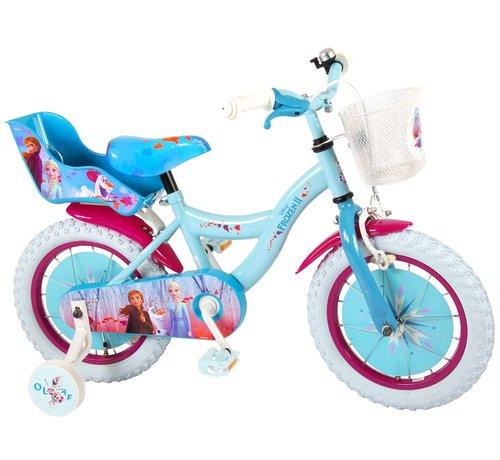 Disney Frozen 2 Disney Frozen 2 Kinderfiets - Meisjes - 14 inch - Blauw/Paars - 95% afgemonteerd
