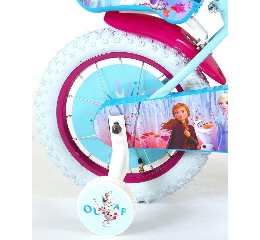 Disney Frozen 2 Kinderfiets - Meisjes - 14 inch - Blauw/Paars - 95% afgemonteerd
