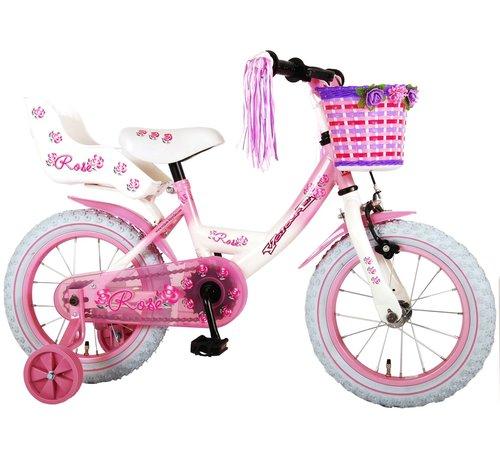 Volare Volare Rose Kinderfiets - Meisjes - 14 inch - Roze Wit - 95% afgemonteerd
