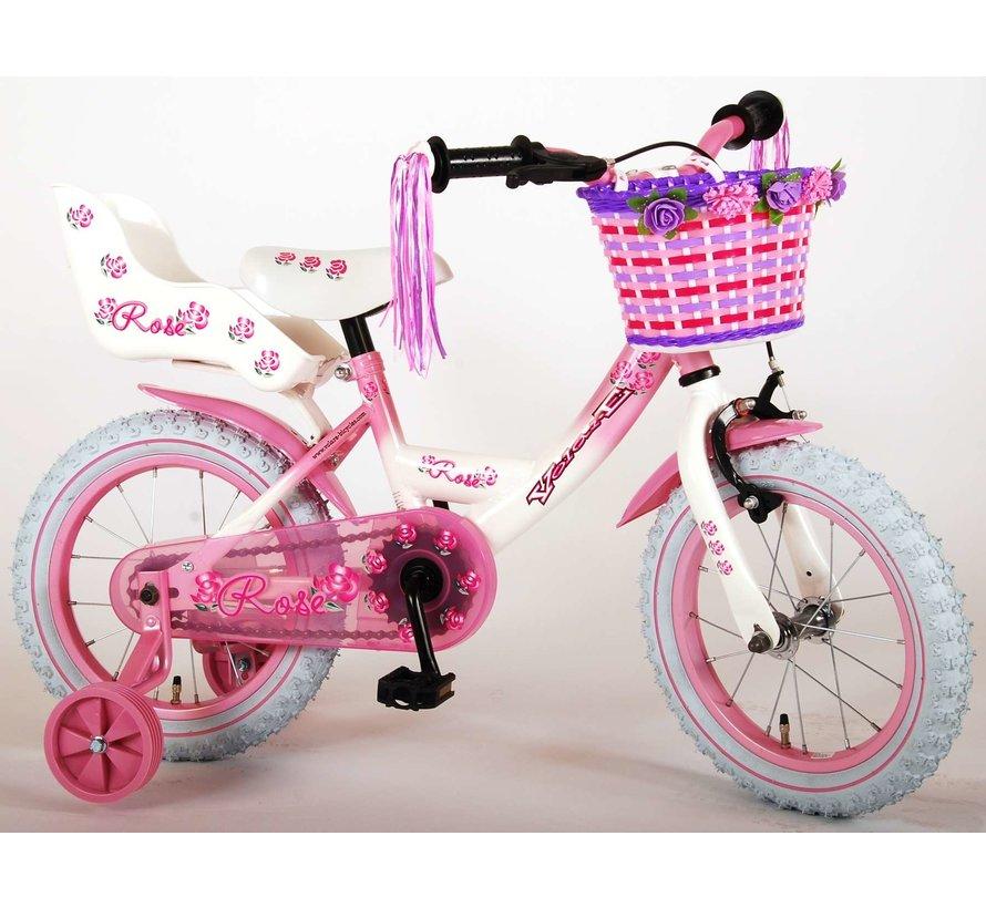 Volare Rose Kinderfiets - Meisjes - 14 inch - Roze Wit - 95% afgemonteerd