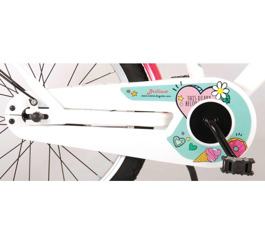 Volare Brilliant Kinderfiets - Meisjes - 18 inch - Wit - 95% afgemonteerd